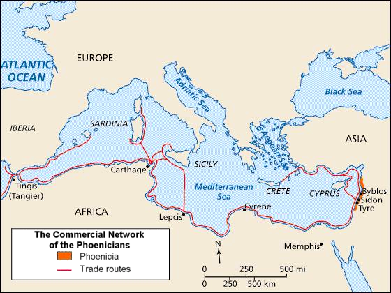 Map of Phoenician Trade Route