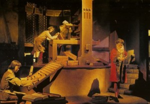 large wooden tray (letter case) shows original scene had animatronic sitting at the tray