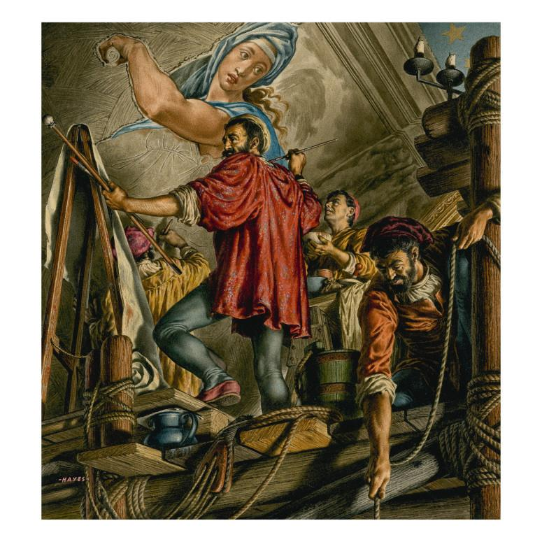Painting of Michaelangelo Painting the Sistine Chapel. Original artwork for illustration in The Bible Story or Look and Learn by Jack Hayes