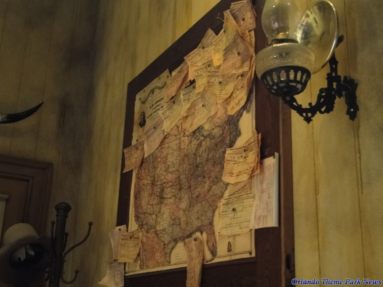 Spaceship Earth Scene of telegraph office map and telegram messages
