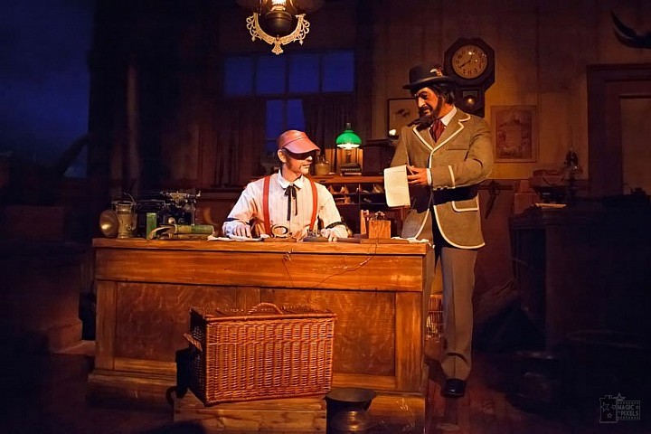 Spaceship Earth scene updated featuring two animatronics at updated telegraph station